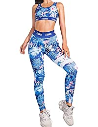 Conjunto Ropa Deportiva Mujer Bohemio Chic 2PC Conjuntos de Sujetador Crop Top y Pantalon Leggings Yoga