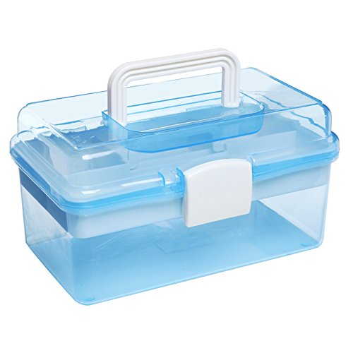 MyGift 25,4 cm Clear Light Blue Kunststoff Mehrzweck Tragbare behandelt Organizer Storage Box/Fall w/Abnehmbare Tablett -