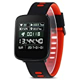 Limiz Smart Watch Phone Herzfrequenz-Überwachung Wasserdicht Nachricht Push Telefon Sim Andrews IOSS Handy Schrittzahl Bluetooth-Anruf Bluetooth 4.0 Gym GV68 (Rot, Grün, Pink) (Color : Red)