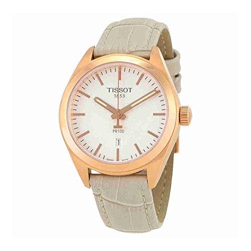 Tissot PR 100blanco Dial cuarzo damas reloj de piel SS t1012103603100