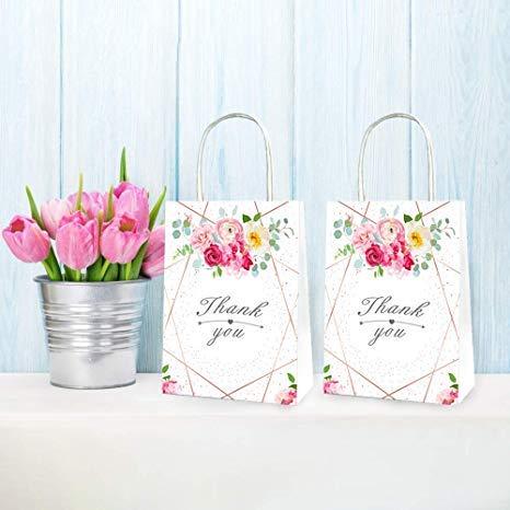 zeit Partytüten JGA | 12 Stücke Papiertüten Rose Blumen mit Thank You-Love is Sweety ideal für Team Braut Hochzeit JGA Junggesellinnenabschied ()