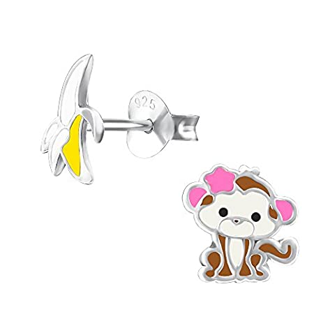 Cheeky Monkey und Banana Ohrringe – Sterling Silber