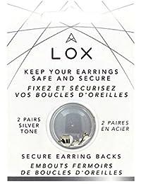 Lox Aloxia - Cierre de seguridad para pendientes, hipoalergénico,Color plateado,2 pares