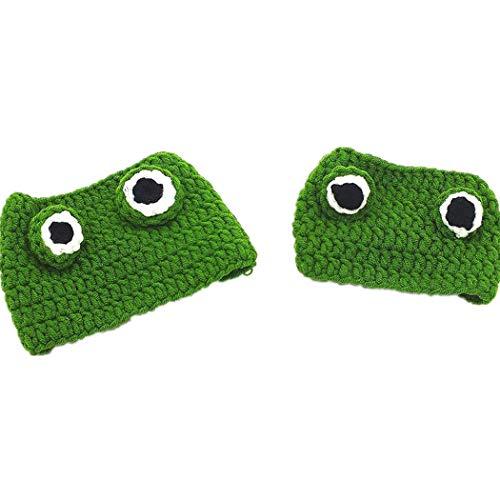 TENGD Fleece Dog Cat Hat Pet Costume Headgear, Animal Head Wear Cat Dog Handmade DIY Wool Hat Creative Cartoon Frog Design, Cute Hat Accessories for All Small Pets,Green-22-24 cm