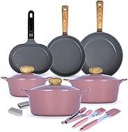 Chef Manal Al Alem Kitchen 12 Piece Retro Cookware - Pink