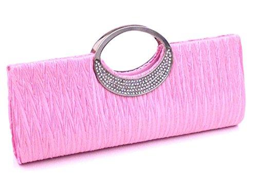 Cloud-Y Sexy StrasssteinDamenAbendtascheHandtasche/ Clutch Große 11.02*4.33*1.57 -Geschenk fur Mutter oder Freunde Pink