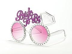 Idea Regalo - PartyDeco- Occhiali Bride To Be con Diamanti-Accessori Addio al Nubilato, Gadget Humour, Rosa, OKR23