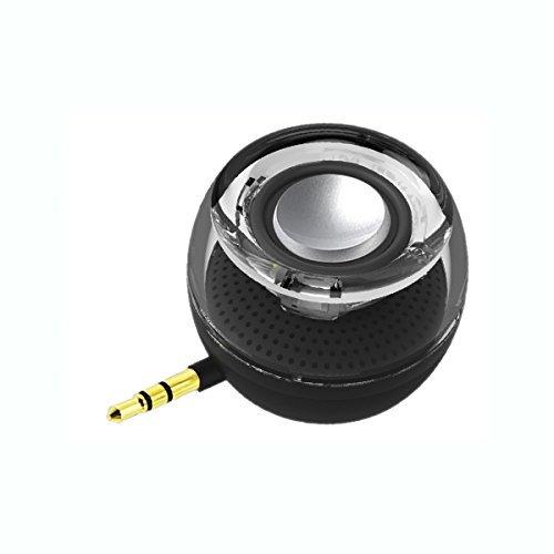 Lautsprecher kabellos, leadsound Crystal 3 W 27 mm; Tragbarer Mini-Lautsprecher mit AUX Audio Jack von 3,5 mm Plug In Clear Bass Micro USB Port Audio Dock für Smartphone, für iPad, Computer schwarz