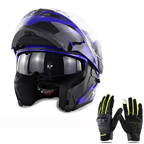 QZFH Capovolgere Dual Lens Up del Casco della Motocicletta del Motociclo di Motocross modulare Moto Casco da Motociclista Fronte Pieno Caschi (Regalo: Touch Screen Moto Guanti pieni),2,XL