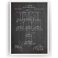 Cerveza Artesanal y Cerveza Poster de Patente Patent Póster Con Diseños Patentes Decoracion de Hogar Inventos Carteles Prints Wall Art Posters Regalos Decor Blueprint - Marco No Incluido