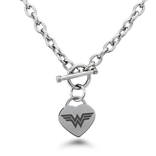 Edelstahl DC Wonder Woman Logo Gravierte Herz Charme, Halskette Nur