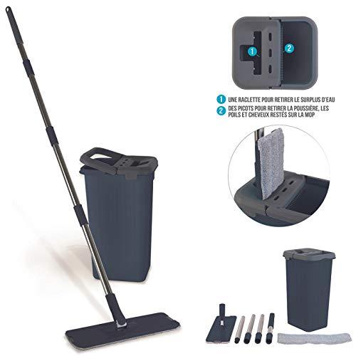 Seau Essoreur Balai Microfibre Rotatif 360° avec double bac | Balai serpillère mop pour tout type de nettoyage avec...