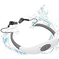 YIKESHU Waterproof MP3 Player Earphone, IPX8 Waterproof Headphone Underwater Sport MP3 with FM Radio Music Player for Swimming Stereo Headset 3-5 Meter Diving Surfing Running