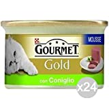 Purina Set 24 Gourmet Mousse Gold Rabbit Gr 85 Food For Cats