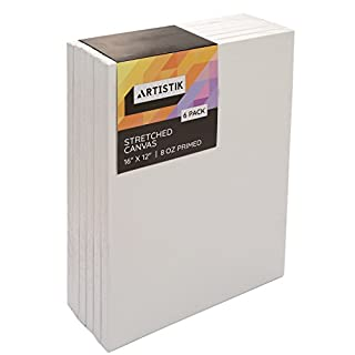 Stretched Canvas Frames - Stretched Canvas (Pack of 6-16 in x 12 in) 100% Cotton Artist Quality Acid Free Triple Primed Gesso Stretched Canvases Quality Art Paint Supply by Artistik