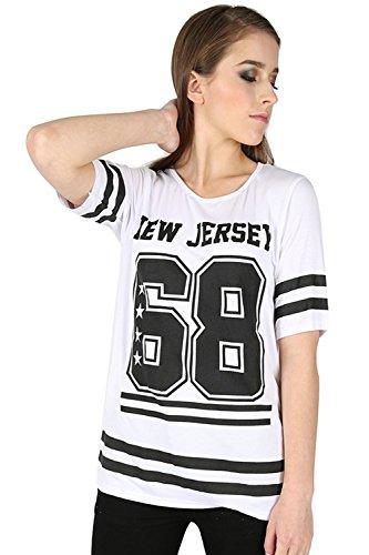 Oops Outlet damen neu TRIKOT 68 Aufdruck Streifen Uni Fußball Baseball überdimensional Baggy T-Shirt Oberteil Übergröße EU 36-50 NEU JERSEY 68 Weiß