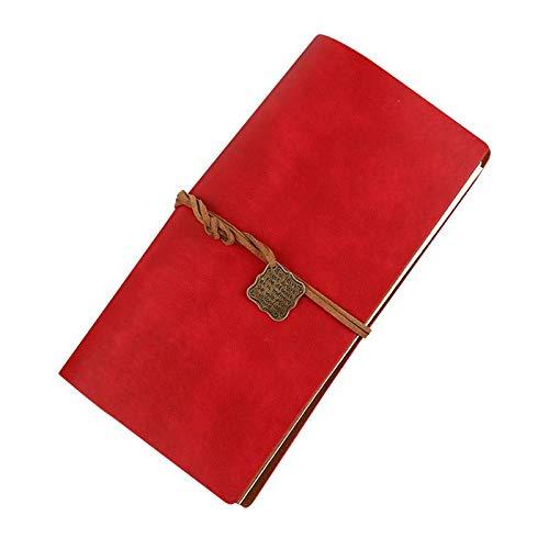 Ankamal Elec Vintage Pu Leder Cover Notebook handgefertigt Retro Journal Tagebuch perfekt zum Schreiben, Skizzieren, Reisende, Profis, Geschenke für Männer & Frauen (185 * 105mm) (Rot)