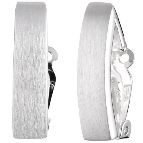 Vinani Ohrclip Rechteck mattiert Sterling Silber 925 Ohrringe LLM