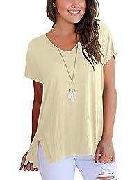 DRESHOW Camiseta manga corta alta baja para mujer Camiseta básica básica  con abertura lateral d411c41fcb3
