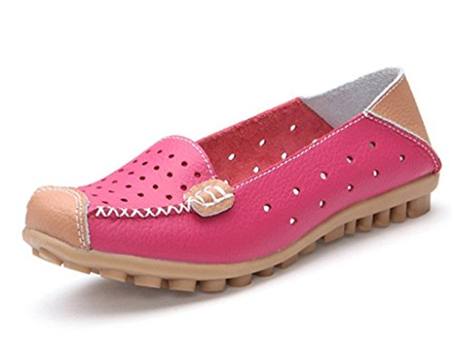 Minetom Donne Moda Loafer Scarpe Hollow Mocassino Pantofole Tallone Piano Estate Scarpe Rose