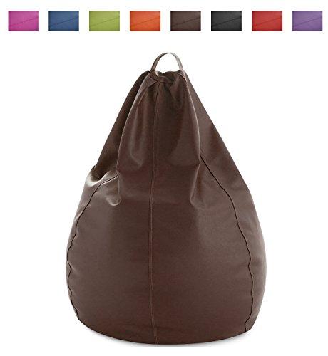 textil-home Puf - Pera moldeable XXL Puff - 90x90x135 cm- Color Chocolate. TEJIDO POLIPIEL alta resistencia - Doble repunte - (Incluye relleno bolas Poliestireno) - 320 Litros capacidad.