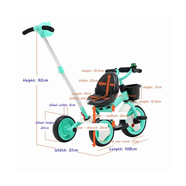 3 In 1 Kids' Trikes 18 Months To 6 Years 360° Swivelling Saddle Seat Can Be Adjusted Back Kids Tricycle Detachable And Adjustable Push Handle 3 Wheel Baby Bike Maximum Weight 25 Kg,Orange BGHKFF ★Material: High carbon steel frame, sturdy, lightweight, durable; suitable for children aged 1.5-6, maximum weight 25 kg ★ 3-in-1 multi-function: convertible into a trolley and a pedal tricycle. Remove the hand putter as a tricycle. ★Safety design: golden triangle structure, safe and stable; front wheel clutch, will not hit the baby's foot; 2 point seat belt 4