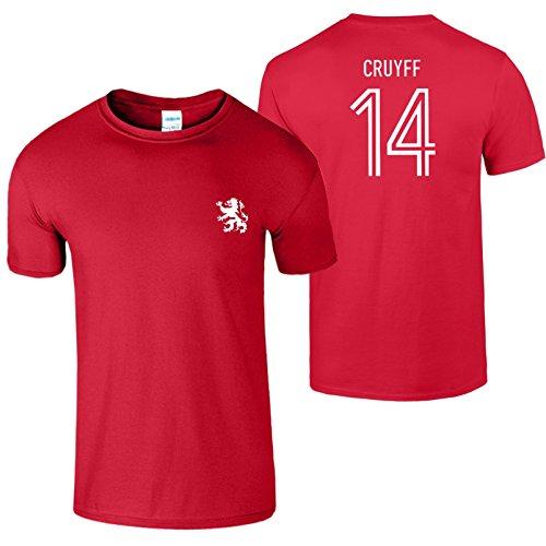 Johan Cruyff 14 Herren T-Shirt 70s Legende Holland Fußball Kirschrot / Weiß Design