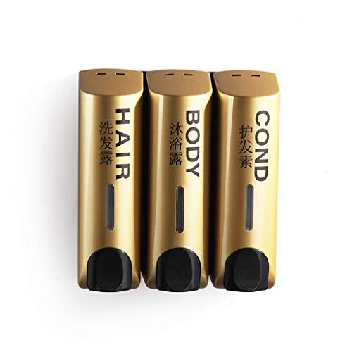 RLJJCS Seifenspender White Wall Washing Händedesinfektions Shampoo Body Wash Manueller Spender 350ml Händedesinfektionsbox (Color : Gold, Size : Three Heads)