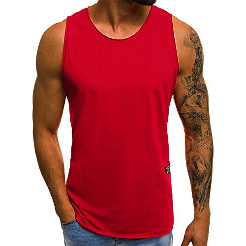 Beonzale Sommer Herren Mode Persönlichkeit Männer Casual Beiläufige Dünne Ärmellose T-Shirt Top Sweatshirt (Hunde T-shirt Plain)
