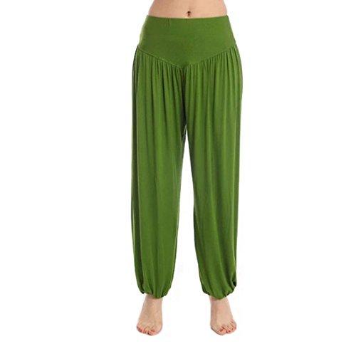 Vertvie Femme Modal Pantalon de Sport Sarouel Bouffan au Chevilles Fermée Palazzo Casual Pantalon Harem Yoga Pilates vert foncé