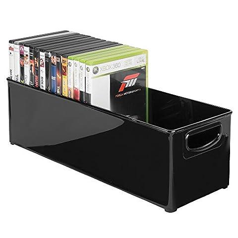 mDesign boîte rangement DVD – range cd dvd aussi pour les tiroirs profonds, tables, étagères – rangement dvd pratique pour accessoires Playstation, dvds et Cie – noir