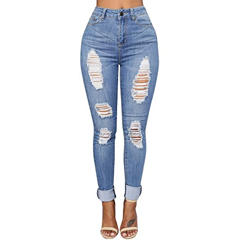 Malloom Vaqueros Jeans Push up, Vaqueros para Cintura Alta Tallas Grandes Pantalones Rotos Leggins Mujer Pantalones Jeans Mujer Elástico Fit...