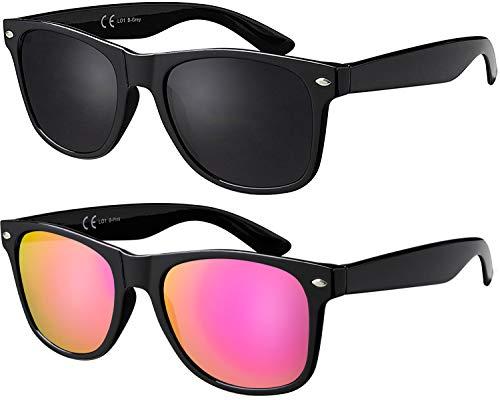 Sonnenbrille La Optica UV 400 CAT 3 Damen Fashion Sonnenbrille - Doppelpack Glänzend Schwarz (Gläser: 1 x Grau, 1 x Pink/Rosa verspiegelt))