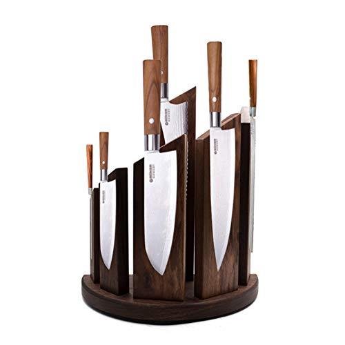 KüChe Doppelseitiger Magnetischer Messerblock Aus Holz FüR 12 Messer,WalnutWood