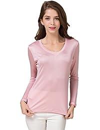 0f097a7c17 Tulpen Damen Seide Langarm T-Shirt Unterhemd Stretch Oberteil Knit Fabric