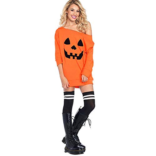 Kostüm Sexy Kürbis - MERICAL Damen Cold Shoulder Kürbis Kostüm Kleid Halloween Maske Kostüm(EU:42/CN:L,Orange)