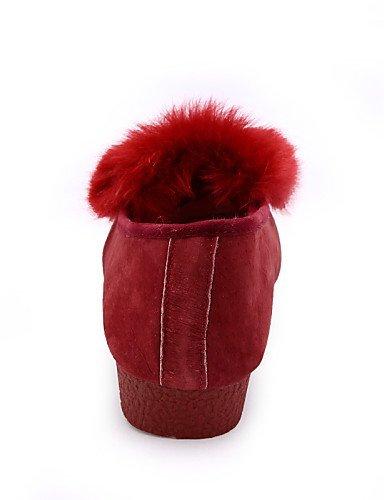 ShangYi Scarpe Donna - Mocassini - Casual - Punta arrotondata - Piatto - Di pelle - Nero / Rosso / Tessuto almond Red