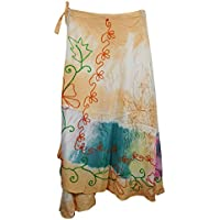 Mogul Interior Magic Wrap Skirt Orange Embroidered Rayon Boho Beach Skirts