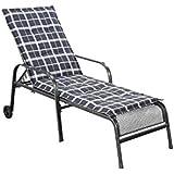 Greemotion Toulouse Chaise longue de jardin, acier inoxydable/plastique, avec coussin Anthracite Anthracite