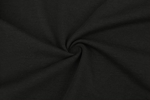 Baumwolle Langarmshirt Damen Bluse Tunika Lang Oberteile Langarm Hemd Gestreift T Shirt Basic Tops Rundhals Schwarz Schwarz