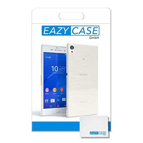 "Sony Xperia Z3 Hülle - EAZY CASE Slimcover ""Clear"" Handyhülle - Schutzhülle als Smartphone Case in Schwarz / Anthrazit Brushed Weiß"