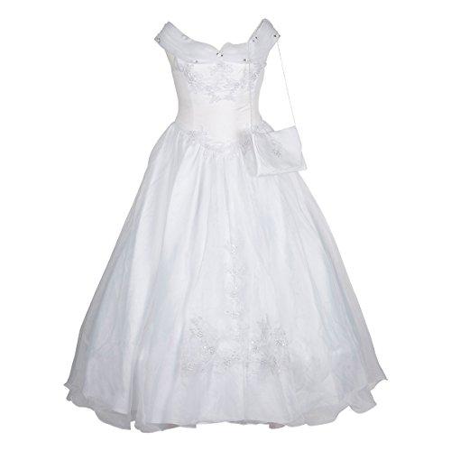 BIMARO Kommunionkleid Lelia weiß lang ohne Tasche Reifrock edler Satin Organza Pailletten Kommunion Festkleid, Größe:12 (152/158)