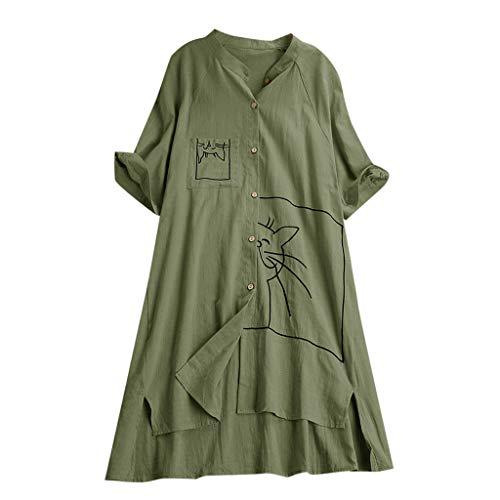 MCYs Frauen Plus Größe lose Leinenschaukel Vintage Pocket Cat Print Tops Shirt Bluse