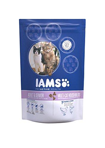 Iams Adult Multi-Cat Trockenfutter (für Haushalte mit mehreren erwachsenen Katzen, mit viel Huhn und Lachs, enthält viel hochwertiges tierisches Protein), 4er Pack (4 x 800 g Beutel)