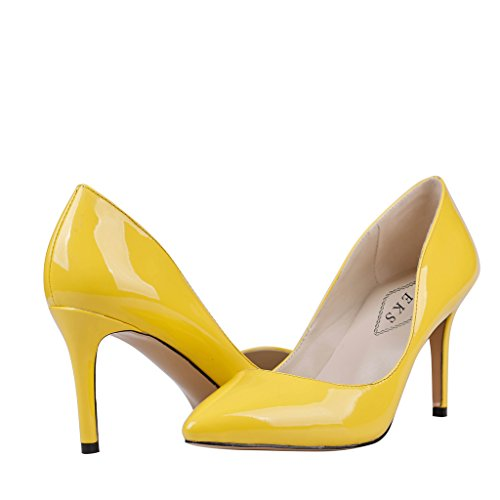 EKS Damen Pointed-toe Stilettos Heels Dress Pumps Gelb-Lackleder