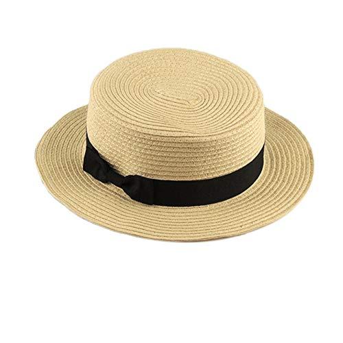 Modisches design kinder mädchen erwachsene frauen sommer sonnencreme boater hut klassische weben stroh damen flat top strand hut Stroh Top