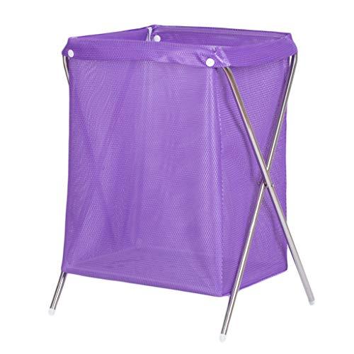 Paniers à linge Pliable Net Respirant Panier Sale vêtements Divers Panier de Rangement Pourpre, 37 * 33 * 53 cm (Couleur : Stainless Steel Pipe)