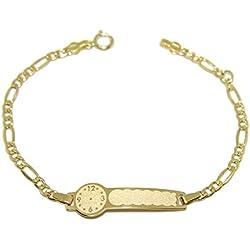 Never Say Never Pulsera para bebé de Oro Amarillo de 18Ktes con Placa y Reloj para Grabar. 14cm