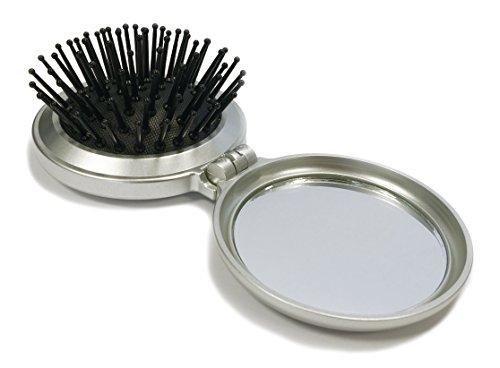 Mini brosse cheveux pliante avec miroir de poche argent