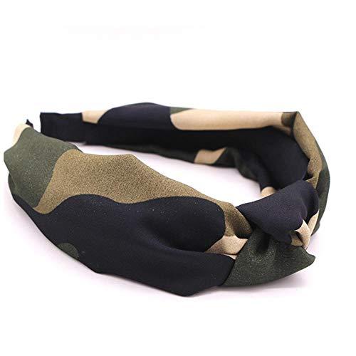 Imagen de gao accesorios para el cabello personalizados con nudo de camuflaje diadema central anudada de satén militar bohemio alternativa